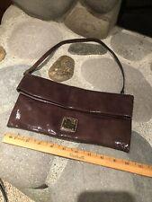 Dooney & Bourke Chocolate Brown Patent Leather Wristlet Clutch Purse Handbag