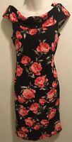 EUC Retro Pinup Forever 21 Black Roll Collar Coral Rose Print Bodycon Dress L