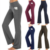 Womens High Waist Yoga Pants Fitness Workout Gym Trousers Flare Wide Bootleg G