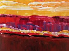 "MAGENTA HILLS Palette Knife Acrylic Landscape Painting 9""x12"" Julia Garcia Art"