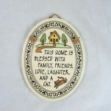 Cat Lover Ceramic Wall Plaque Hanging Made in USA Trinity Pottery Blessed Home