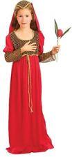 Enfant Médiéval Juliette Costume Red Fancy Dress Costume Âge 5-7 Ans