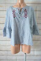 Katies Smock Top Blouse Shirt Size 12 Grey White Stripe Floral
