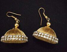 Indian ethnic Stone Yellow Silk Thread Handmade Jhumka Jhumki Hook Earrings