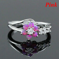 Exquisite Round Cut White Fire Opal Stone 9-2-5 Silver Flower Women Opal Rings