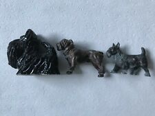 ** ANTIQUE Metal & Ceramic SCOTTISH TERRIER  &  BULLDOG **