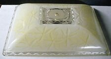 Ceiling Light Globe / Shade Large Rectangle Yellow / White Frosted Vintage
