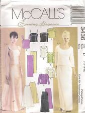 McCalls Evening Elegance Sewing Pattern 3436 Misses Lined Tops Skirts Stole