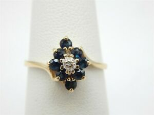 10K YELLOW GOLD .50 TCW LONDON BLUE TOPAZ CLUSTER RING DIAMOND ACCENT SIZE 5.75