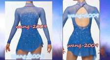 Popuplar Ice skating dress Blue Figure Skating Dance Baton Twirling Costume W067