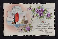 C1916 French plastic card - Sail boat, lighthouse & flowers