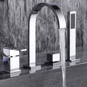 Double Handle 4-Hole Bath Filler Mixer Tap with Hand Shower Modern Style Chrome