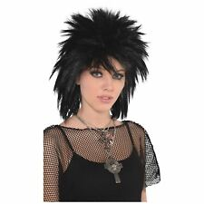 Adult Ladies 80s Runaway Punk Rock Biker Goth Mullet Wig Fancy Dress Accessory