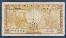 BILLET de BANQUE de BELGIQUE.50 FRANCS Pick n°133 du 03-04-1956 en TB A07 820738