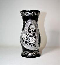 Contermporary Black Glitter Silver Crystal Vase -4 Artificial Flower Arrangement