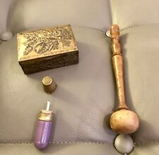 Victorian Enamelled Etui Holder Thimble & Pill Box & Treen Darning Mushroom