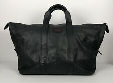 """Tumi Alpha Black Leather Weekender Duffle Bag 21"""" Luggage Travel Carry On 964D3"""