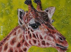 ACEO ORIGINALGIRAFFE AFRICA big animals wildlife NATURE miniature art card EMMA