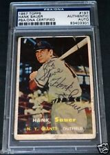Vintage HANK SAUER Signed 1957 Topps #197 New York Giants Auto PSA/DNA Slabbed