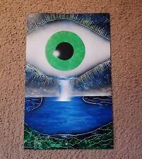 Spray Paint Art - Eye waterfall crying eyes green 14x22