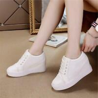 Womens Ladies Lace Up Hidden Wedge Heel Platform Sneaker Tennis Stylish Shoes