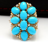 6.80 Carats Natural Turquoise and Diamond 14K Solid Yellow Gold Ring