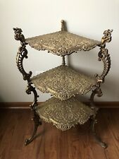 Very Rare Victorian Style Antique Solid Brass Three Tier Corner Table