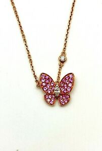 """18K Rose Gold 16"""" 0.85 CTW Diamond & Pink Sapphires Butterfly Necklace"""