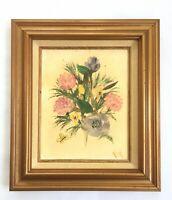 Vintage Floral Still Life Val Signed Acrylic Painting Canvas Chunky Wood Frame