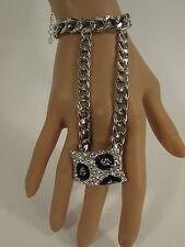 New Women Silver Metal Links Rhinestones Slave Ring Fashion Bracelet Hand Chains