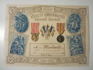 MEDAILLES COMMEMORATIVES DE LA GRANDE GUERRE 14.18/INSIGNE MILITAIRE/DECORATION