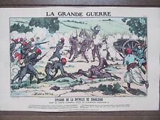 GRAVURE 1914 GRANDE GUERRE BATAILLE DE CHARLEROI MORT DU PRINCE ALDEBERT