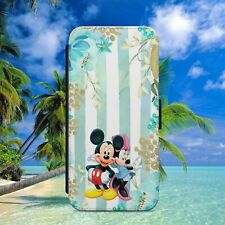 MICKEY MINNIE FLOWERS FLIP WALLET PHONE CASE COVER FOR IPHONE SAMSUNG HUAWEI