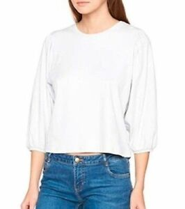 New Look T Shirt Top Interlock Volume Sleeve Cream Size 12 New with Tags