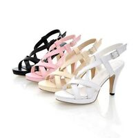 Women Slim High Heel Buckle Slingback Ankle Strap Sandals Open Toe Solid Shoes
