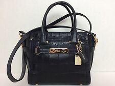 NWT COACH swagger 21 carryall in croc embossed leather 37997  $395 Black