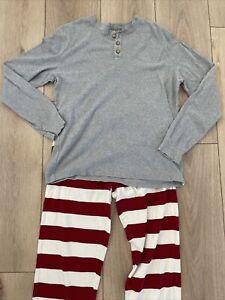 Burts Bees Baby Mens Large Lounge Pajamas Cotton Blend Red White Stripe PJs