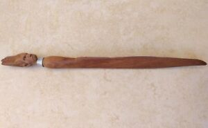 Antique wood carved paper knife letter opener