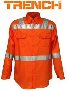 Hi-Vi Cotton Drill Safety Shirt With Reflective Tape - ORANGE