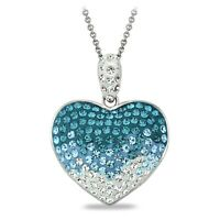 Light Blue Crystal Ombre Heart Necklce Made with Swarovski Elements in Brass