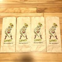 Vintage 1983 He-Man Masters Of The Universe Brown Paper Lunch Bag Lunchbox Bags