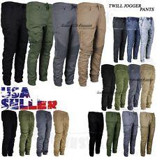 Mens Twill Jogger Pants Casual Stretch Harem Hip Hop Slim Drop Crotch Trousers