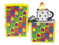 Zippo Lighter 28954 Flame Logo Neon Yellow Colorful Windproof Pocket Classic NEW