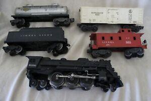 VINTAGE LIONEL TRAINS SET - STEAM ENGINE #2036 & TENDER #6466W, 2 CARS & CABOOSE