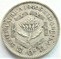 1940 SOUTH AFRICA,George VI, 6 Pence grading VERY FINE.