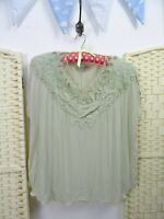 VINTAGE green viscose gypsy lacy boho grunge pixie urchin textured shirt top L