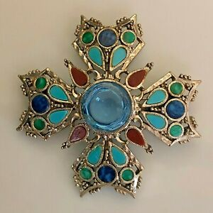 Center Attraction - ART Signed Reverse Cabochon Pin/ Brooch - Modified
