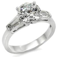 Round and Baguette Clear CZ Engagement Ring .925 Sterling Silver