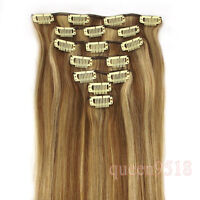 "15""18""20""22""Clip in Remy Real Human Hair Extensions Straight Any Color&Length"