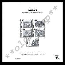 ITALIA 1976 Il raro Foglietto Speciale Pubblicitario Expo 76 introvabile !